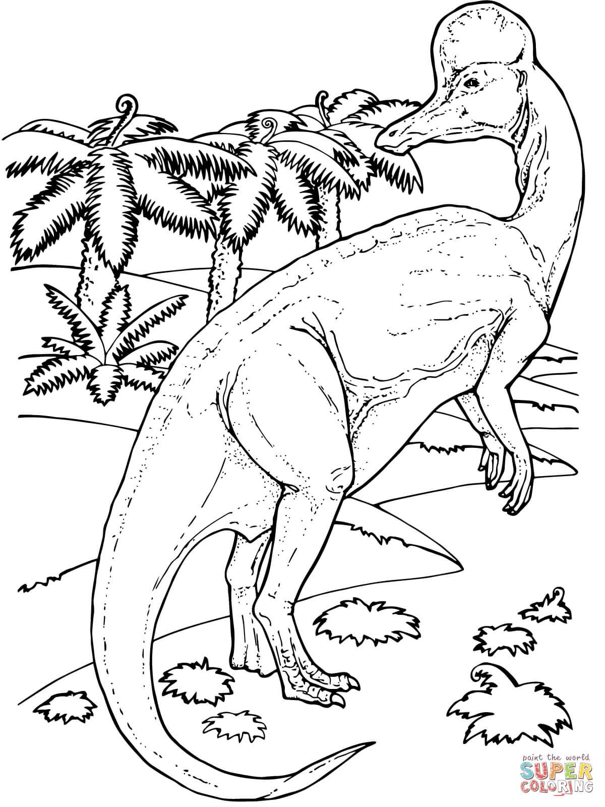 Corythosaurus Duck Billed Dinosaur Coloring Page