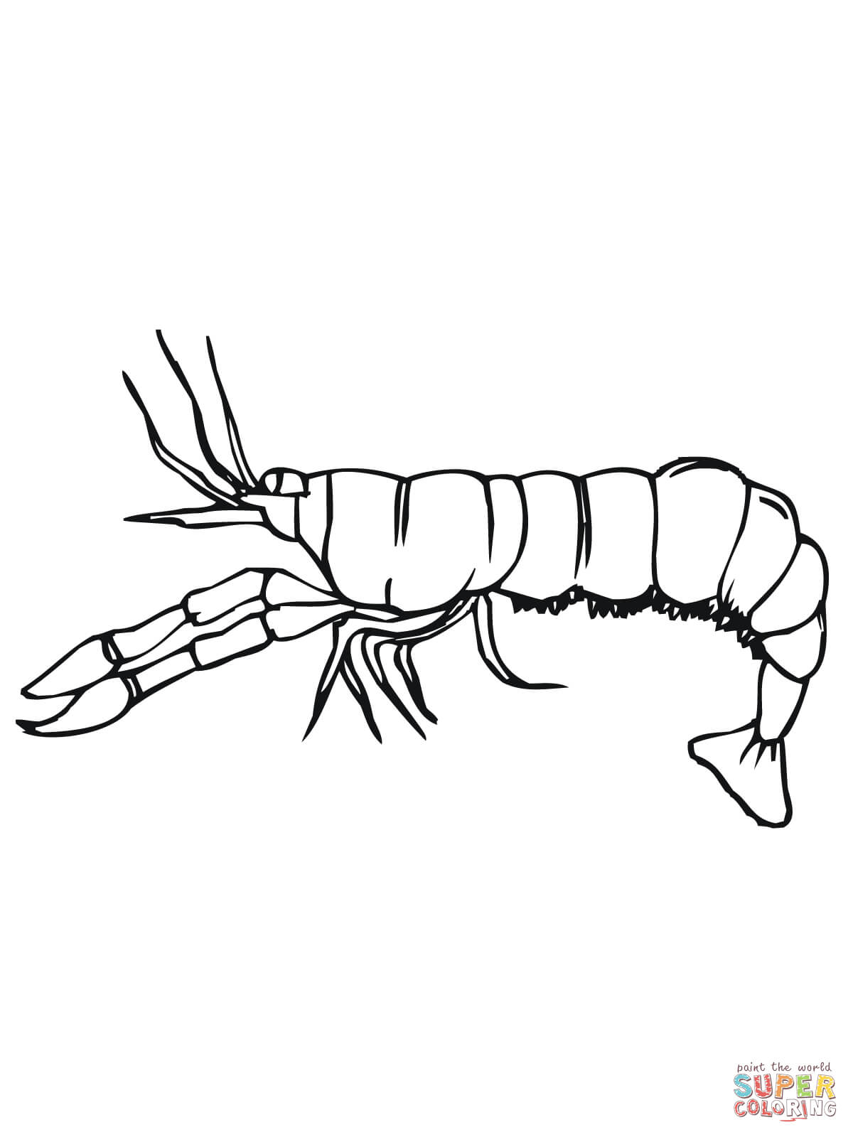 Crawfish Side View Coloring Page