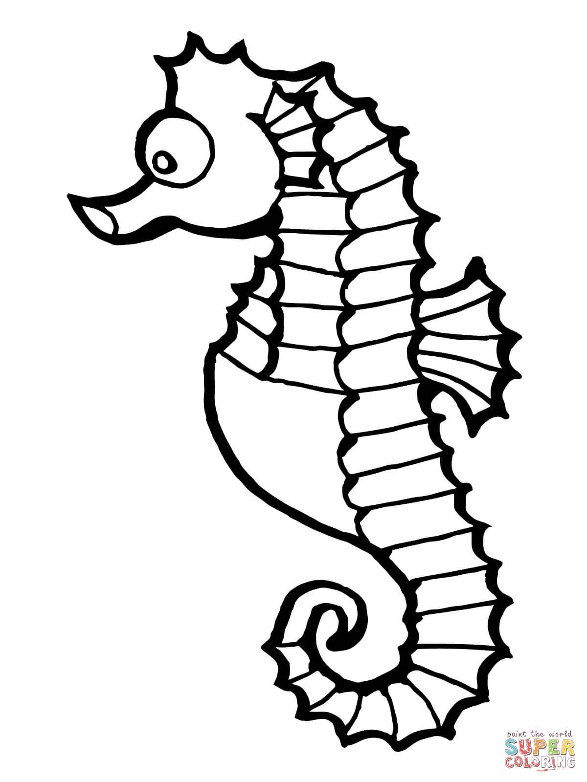 Seahorse Fish Coloring Page
