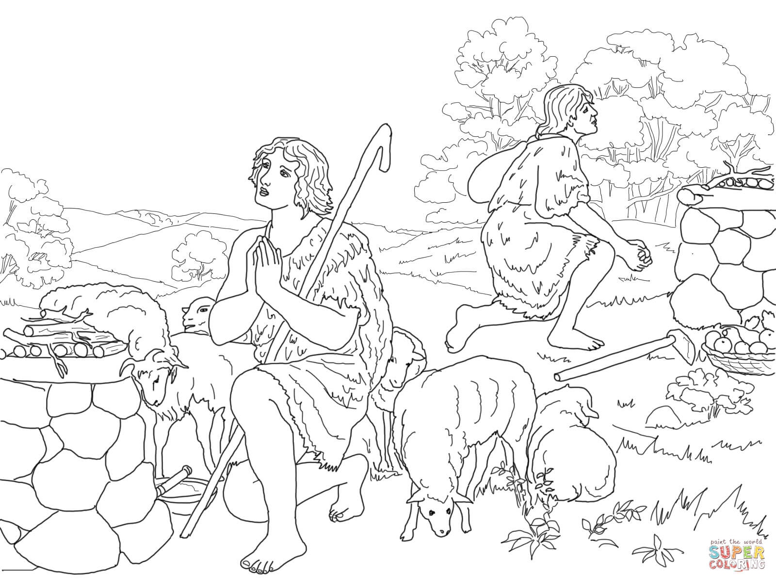 Cain And Abel Sacrifice To God Coloring Page
