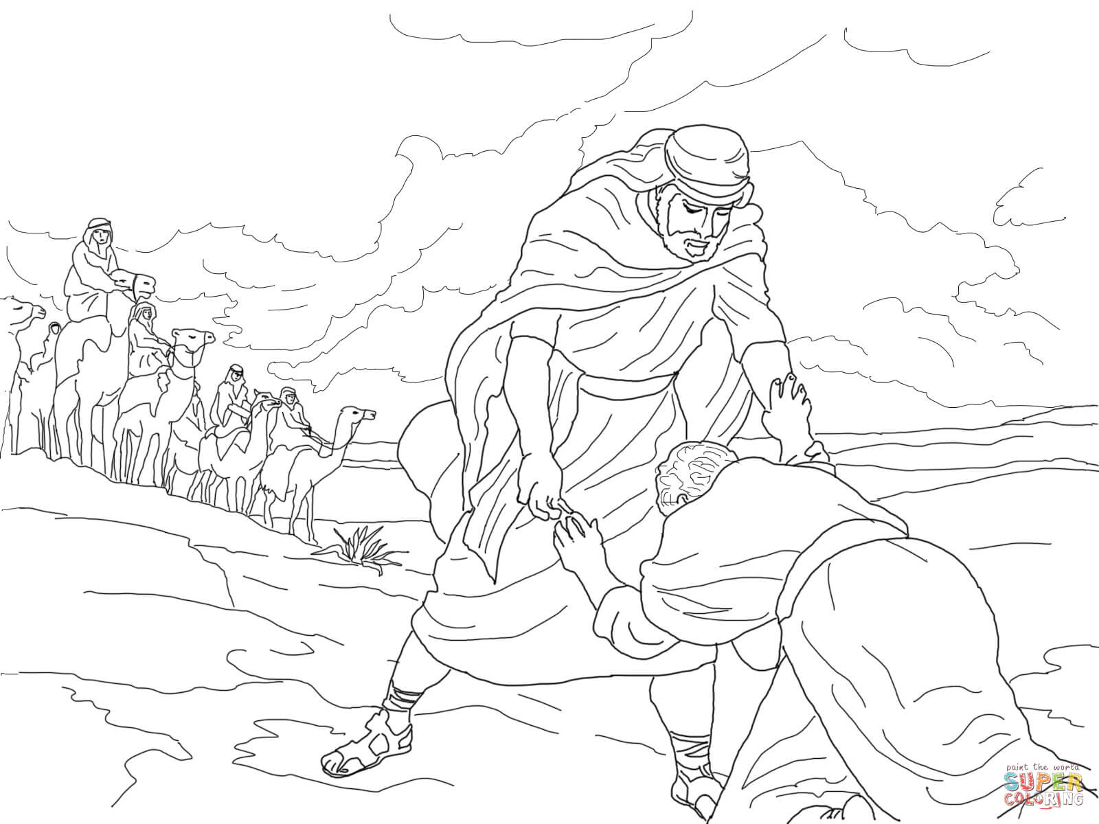 Esau Forgives Jacob Coloring Page
