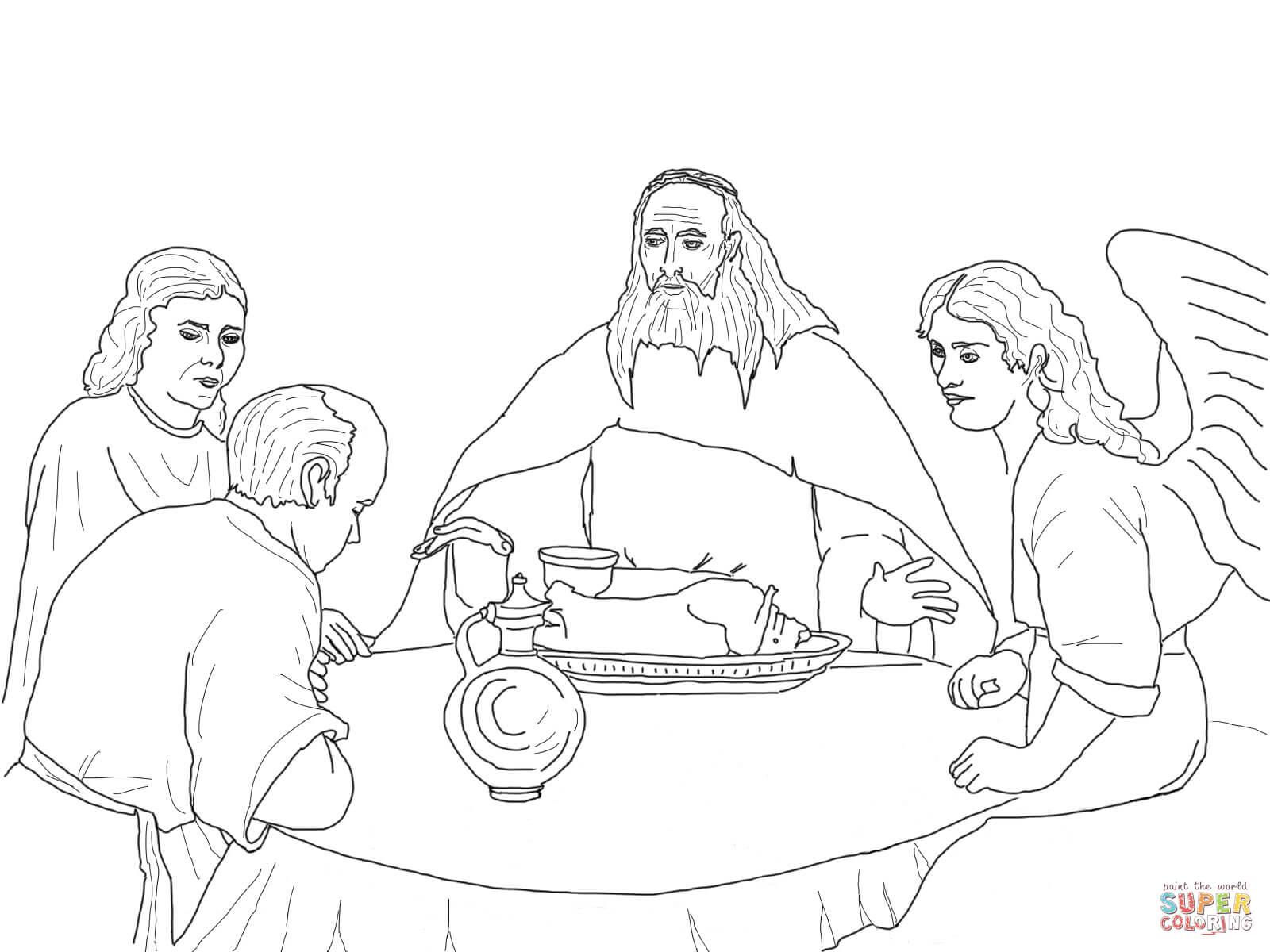 Dibujo De Dios Y Los Angeles Visitan A Abraham Para Colorear
