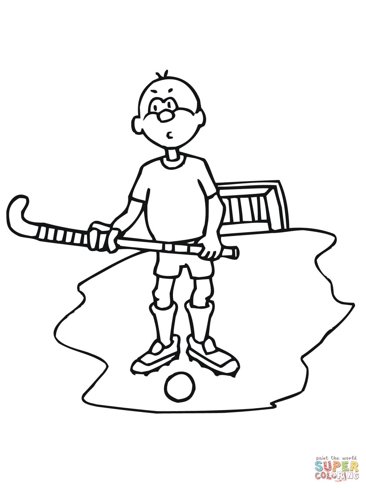 Boy With Field Hockey Stick And Ball Coloring Page