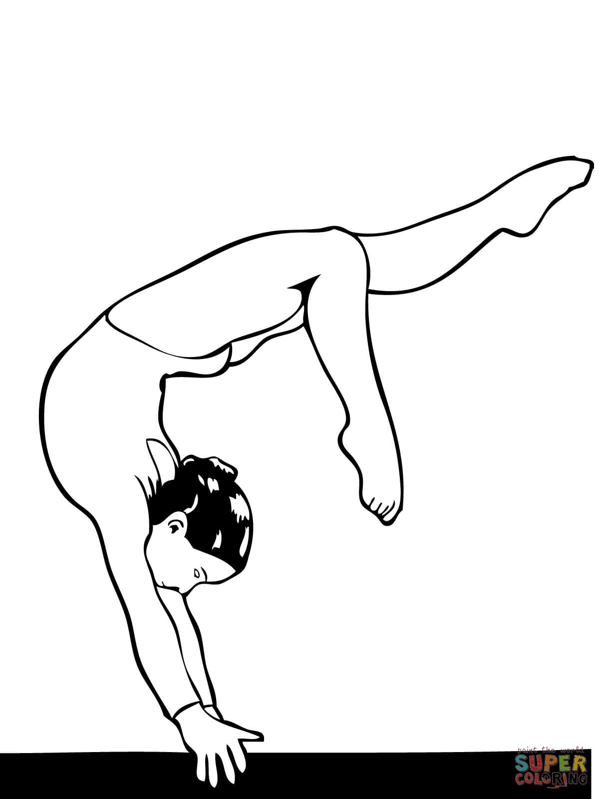 Full Turn On Balance Beam Coloring Page