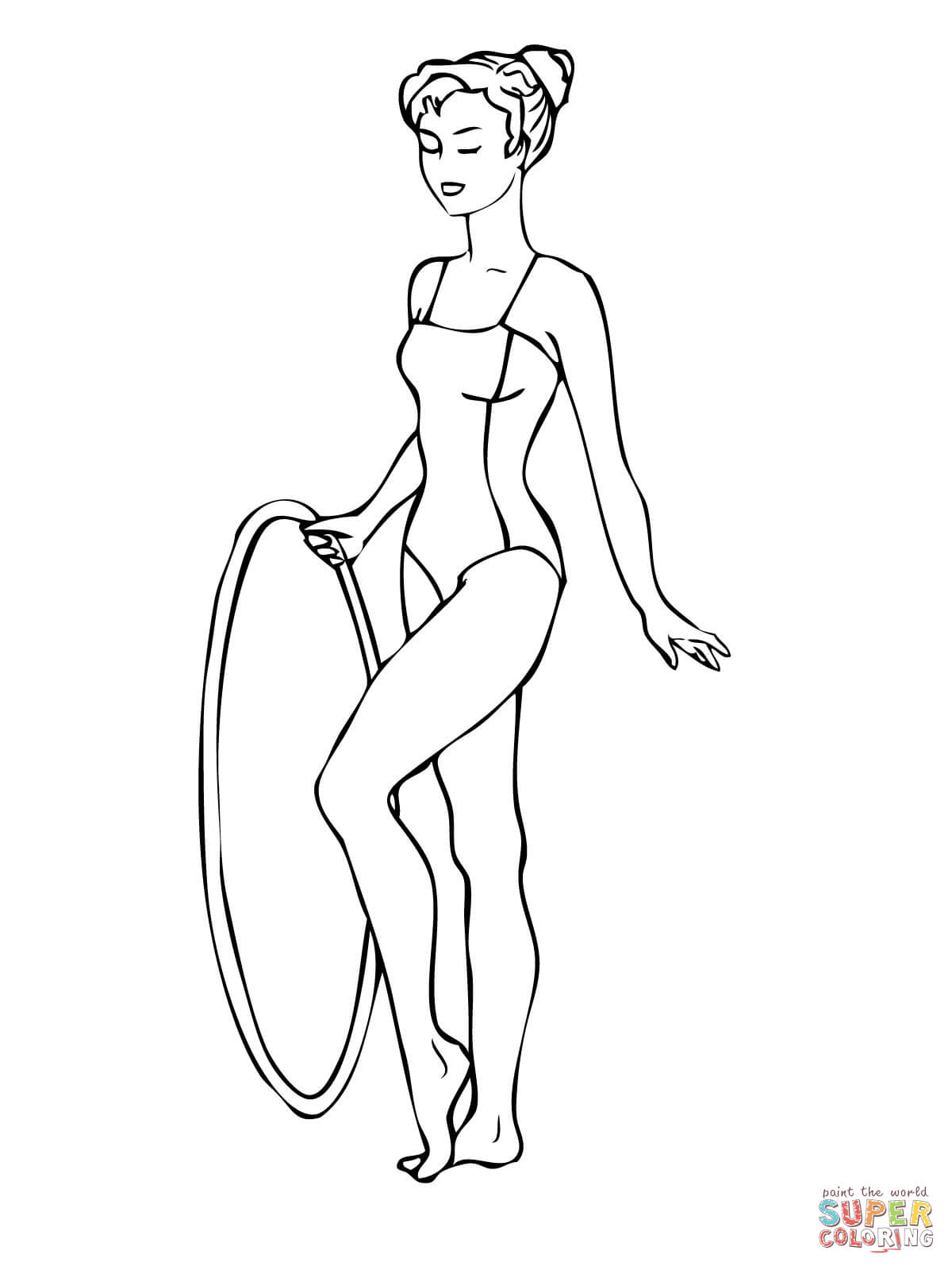 Gymnastics Routine With A Hoop Coloring Page Free Printable