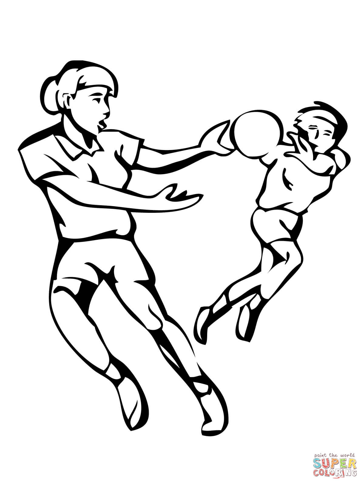 Handball Match Coloring Page