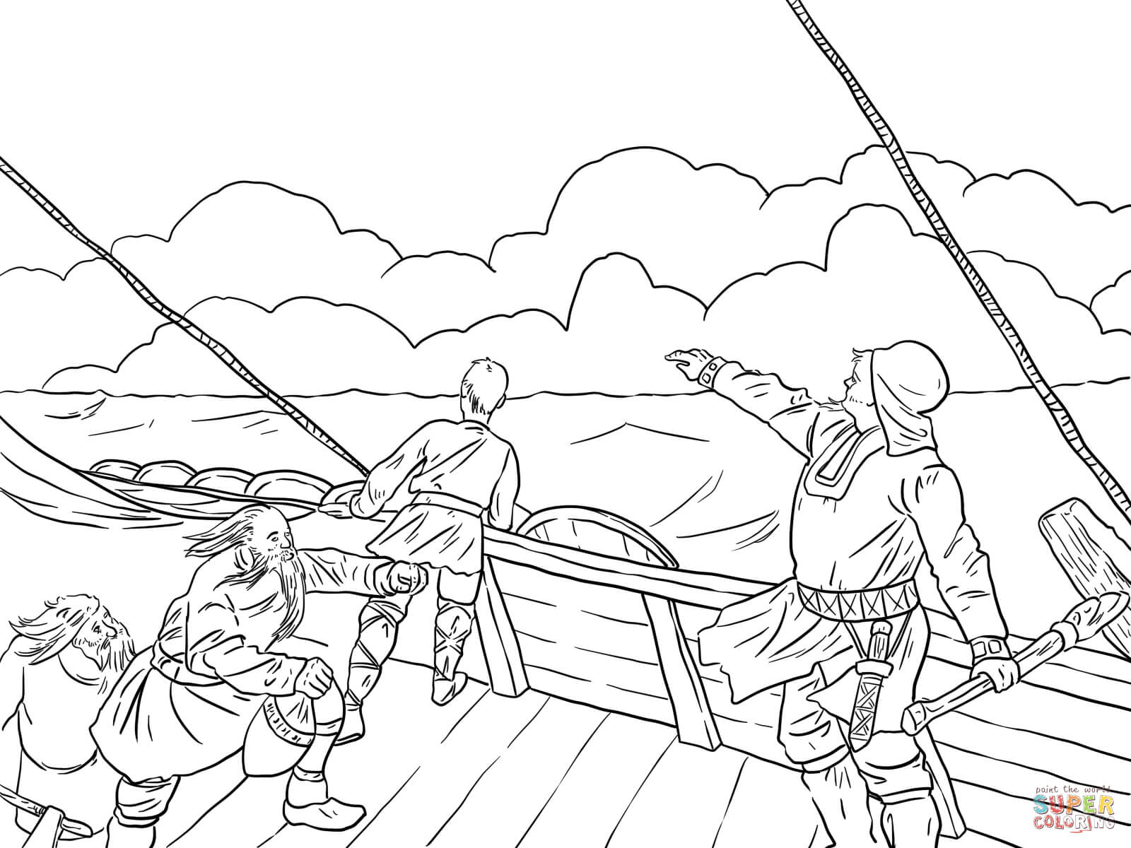 Leif Ericson Discovers North America Coloring Page