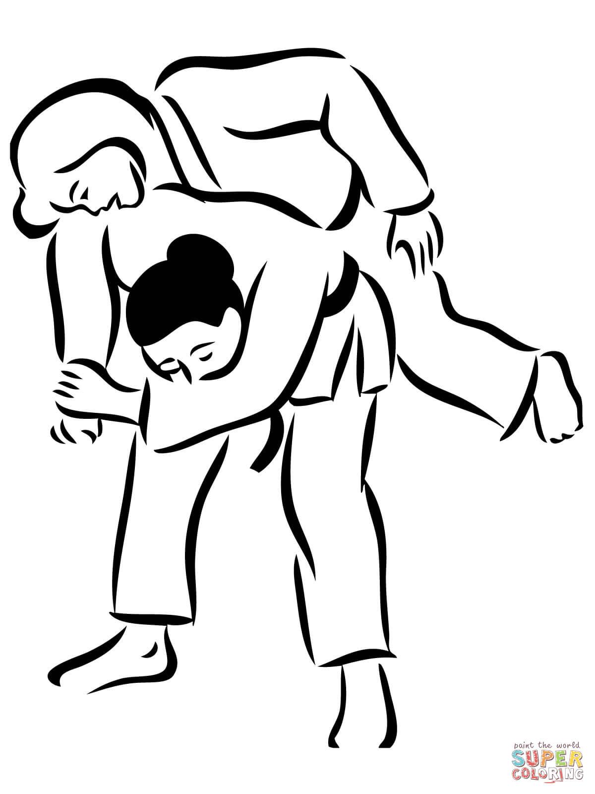 Seoi Nage Judo Throwing Coloring Page