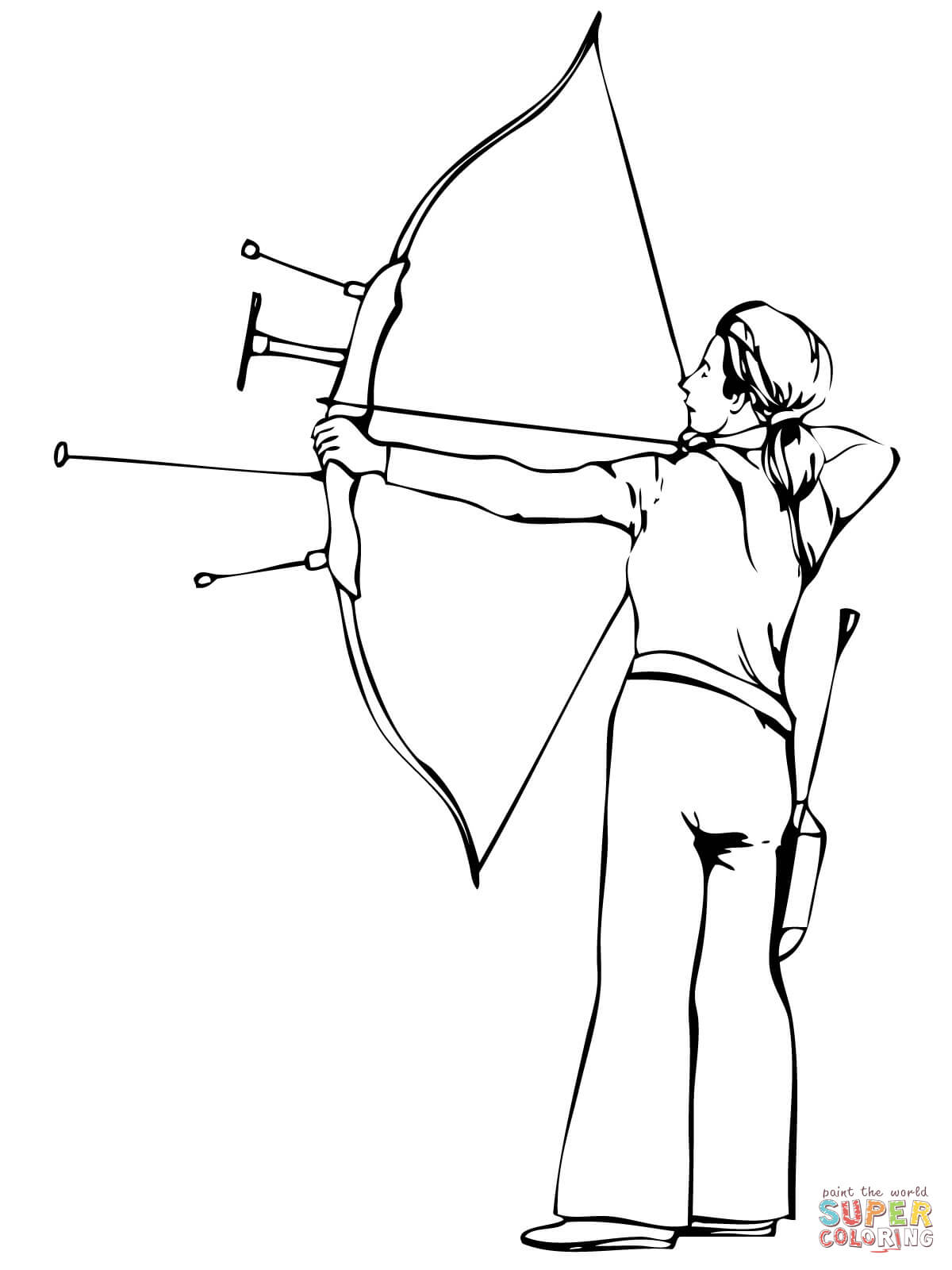 Shooting Recurve Bow Coloring Page