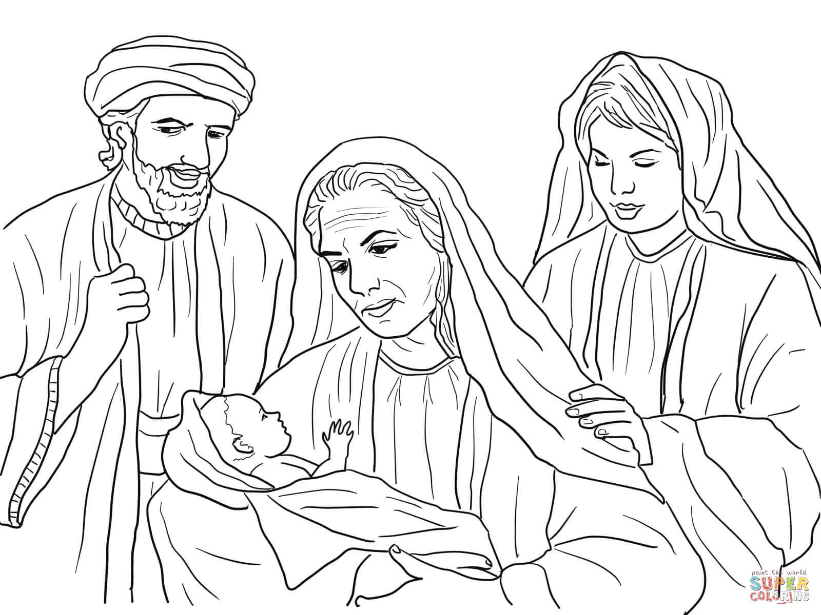 Boaz Naomi Ruth And Baby Obed Coloring Page