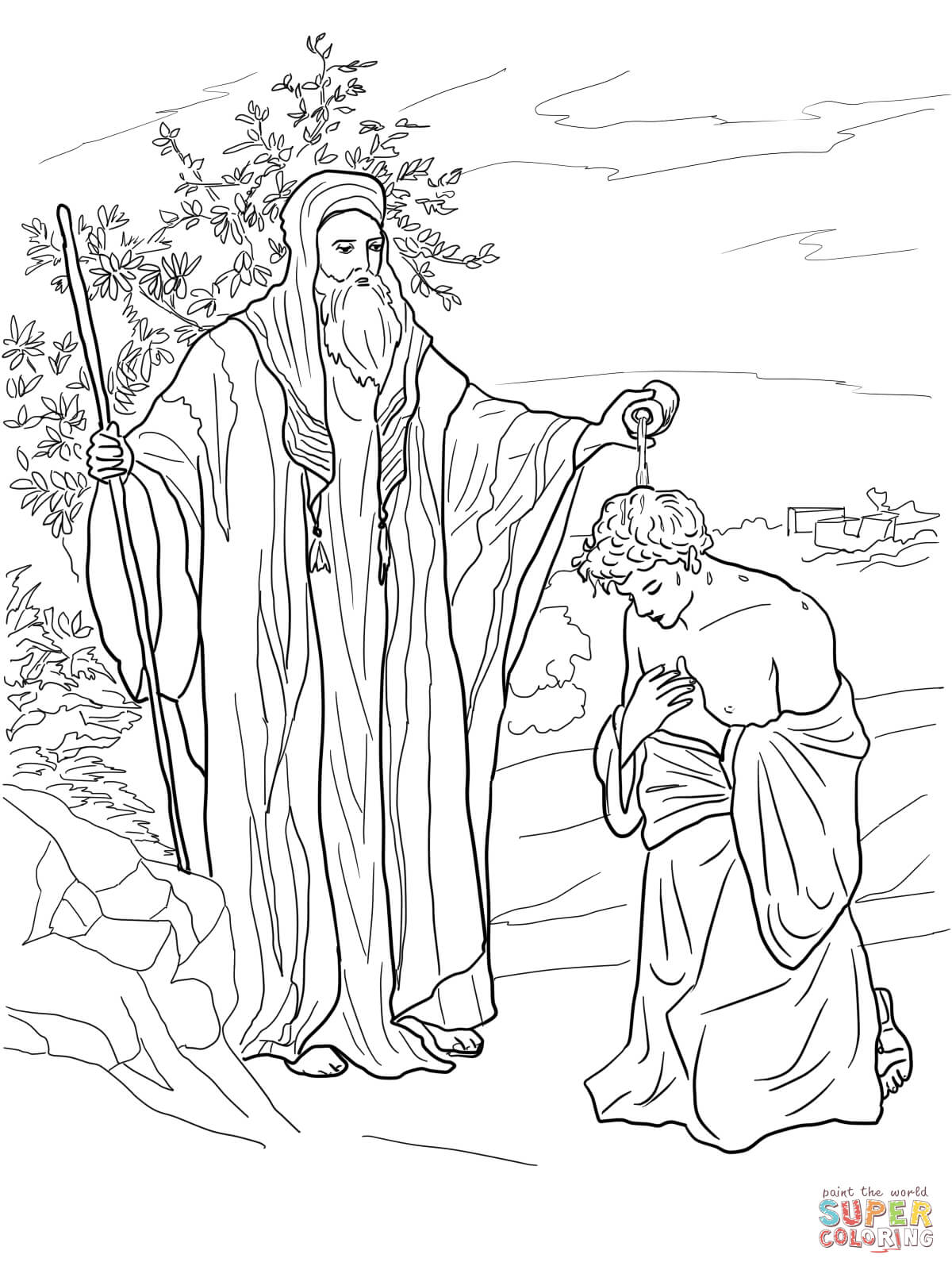 Samuel Anoints Saul As King Coloring Page