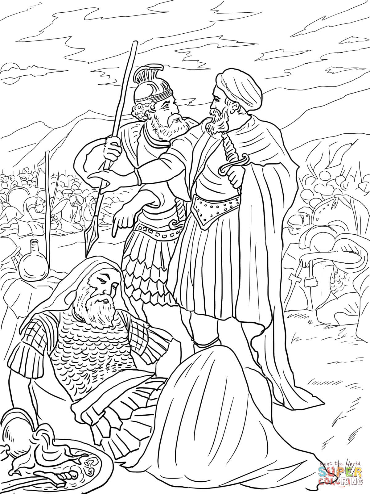 David Spares King Saul Coloring Page
