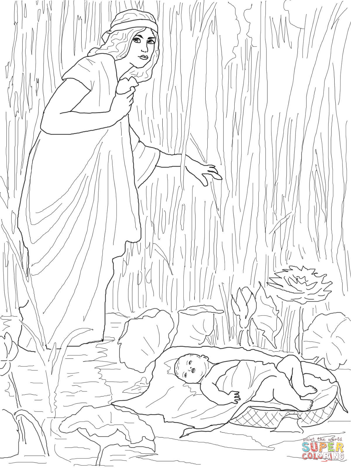 Jochebed Put Baby Moses In The Nile Coloring Page