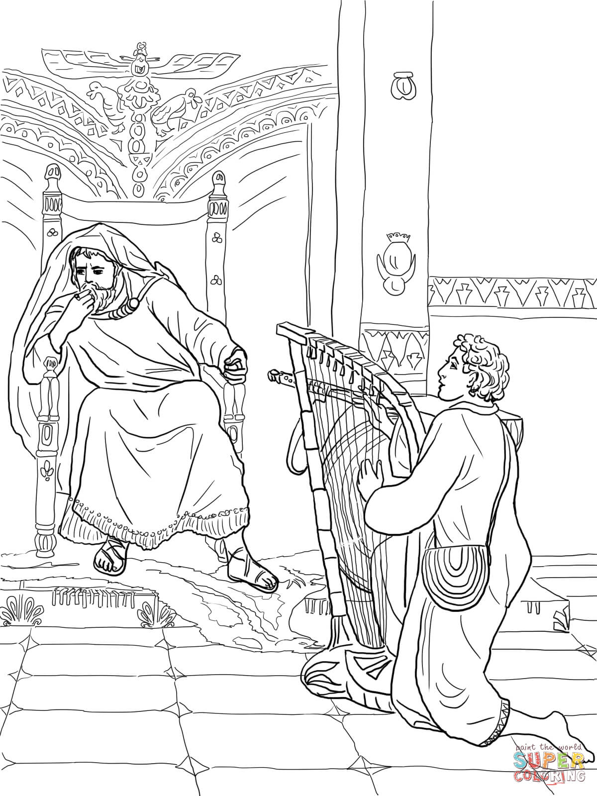 David Plays The Harp For Saul Coloring Page