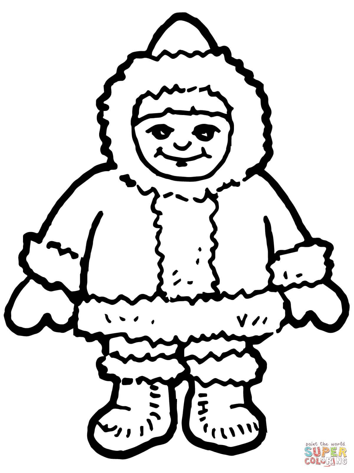 Dibujo De Lindo Nino Esquimal Inuit Para Colorear