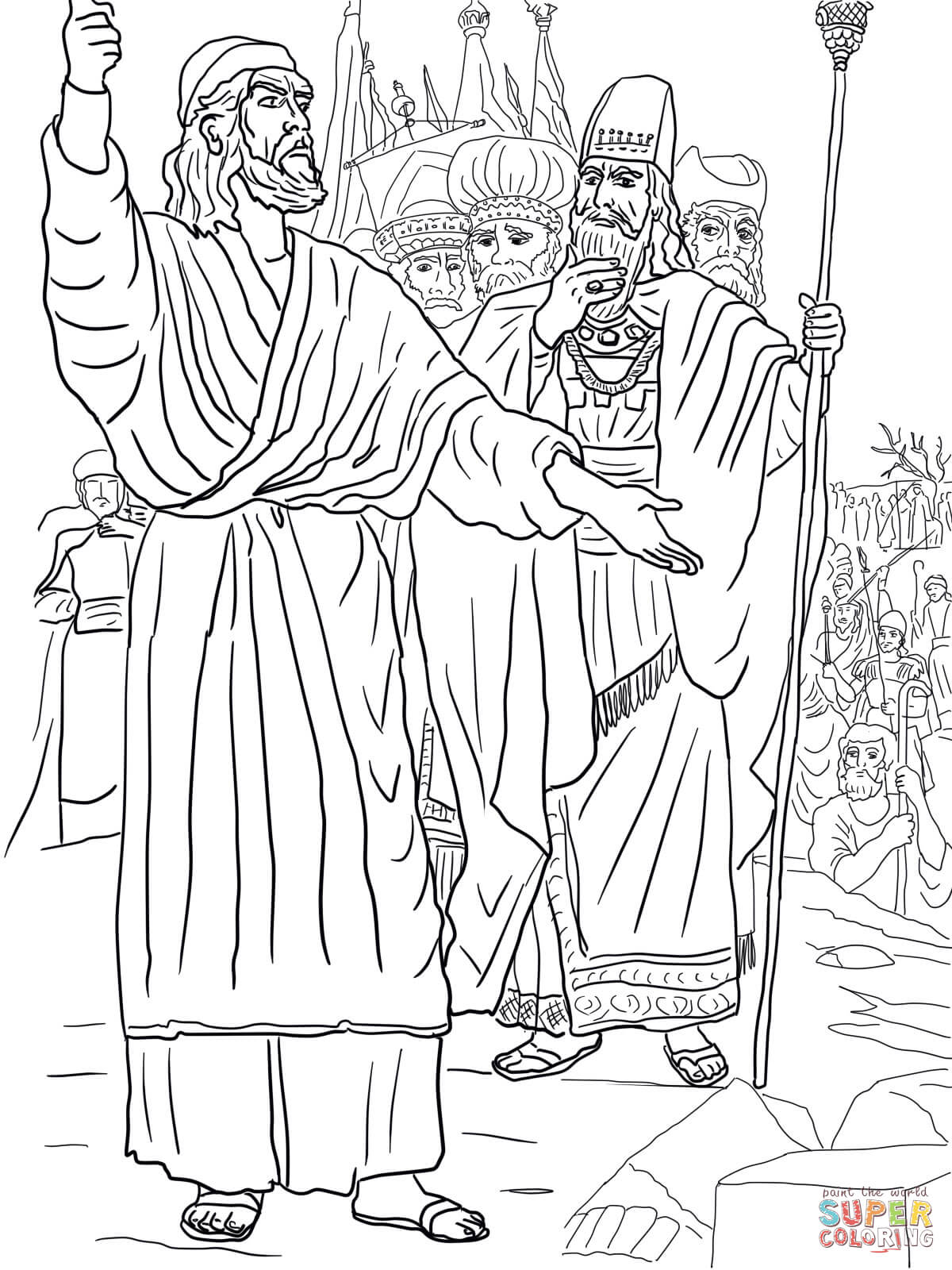 Elijah Ahab And Prophets Of Baal On Mount Carmel Coloring Page