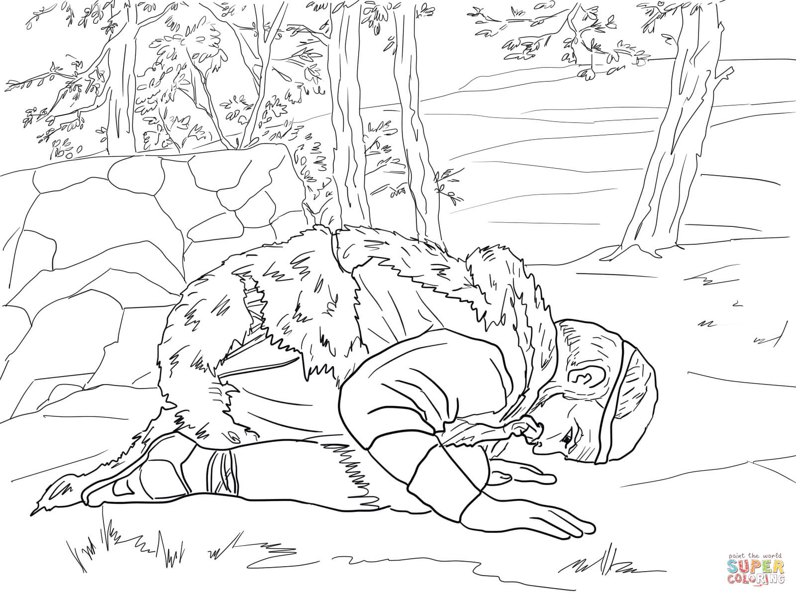 Elijah Prays For Rain Coloring Page