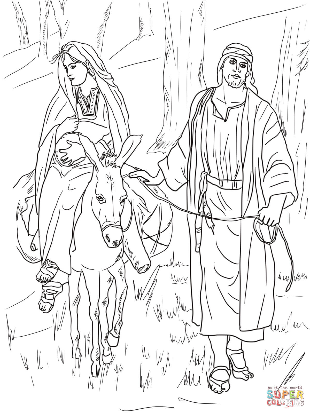 Mary And Joseph On The Road To Bethlehem Coloring Page