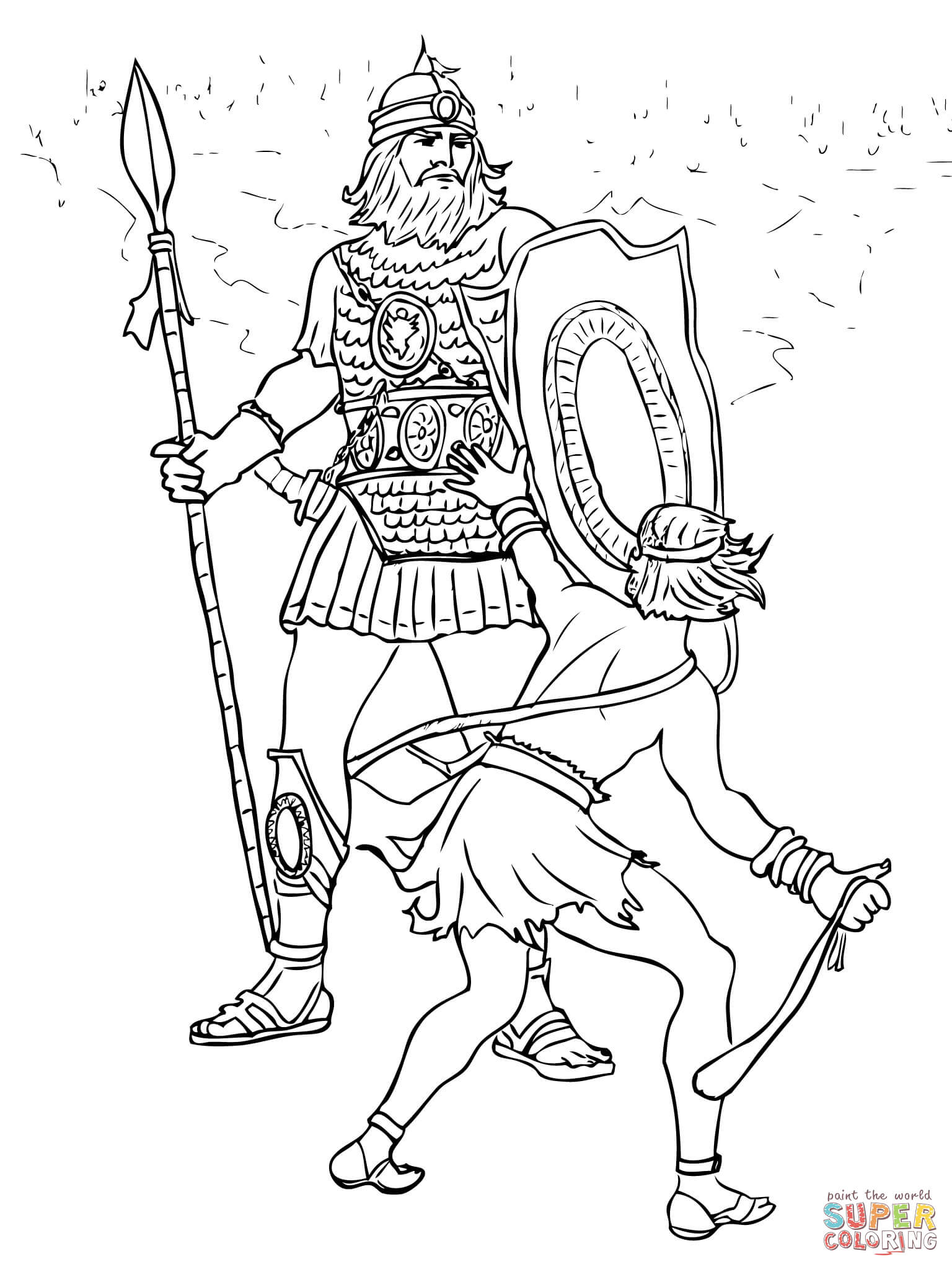 David And Goliath Fight Coloring Page