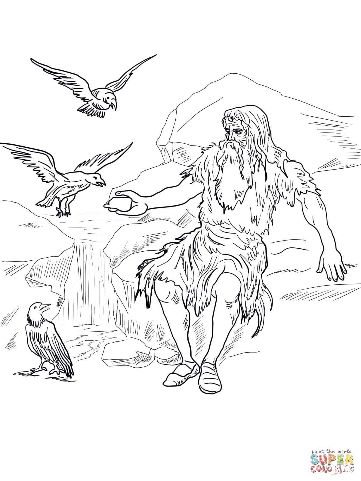 Birds Feed Elijah Coloring Page