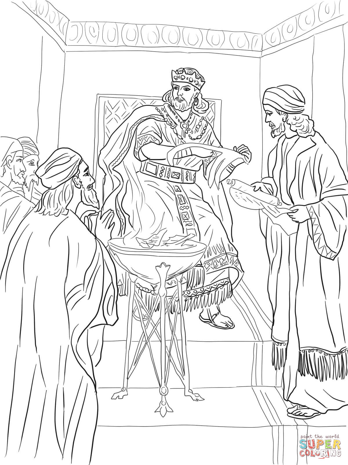 King Jehoiakim Burns Jeremiah S Scroll Coloring Page