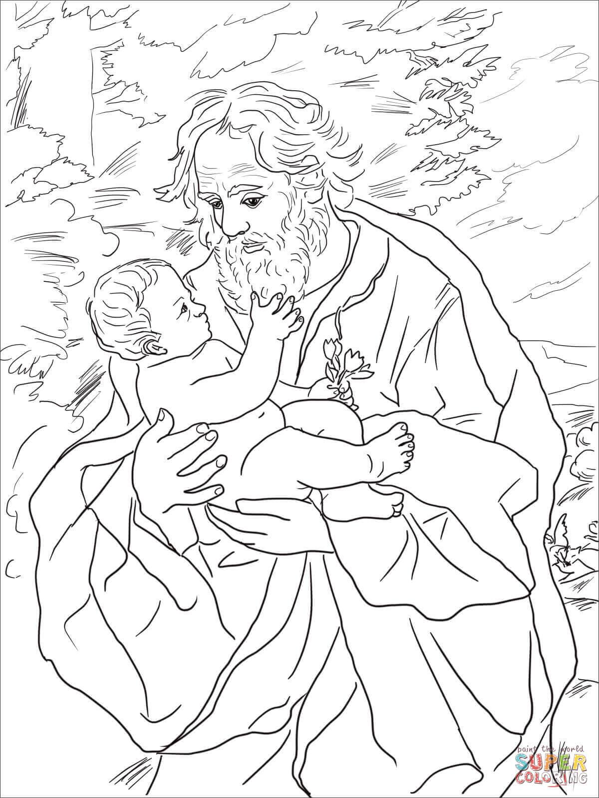 Dibujo De San Jose Con El Nino Jesus Para Colorear