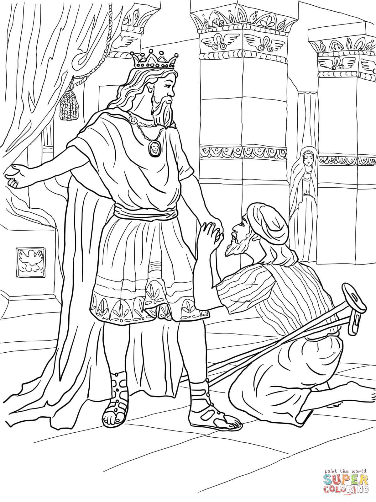 Ausmalbild David Hilft Mephiboseth