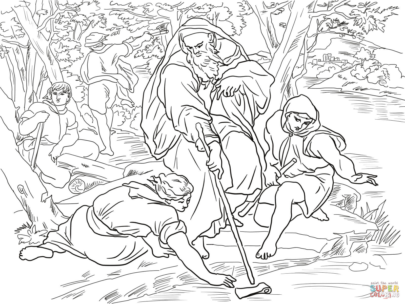 Elisha And The Floating Axe Coloring Page