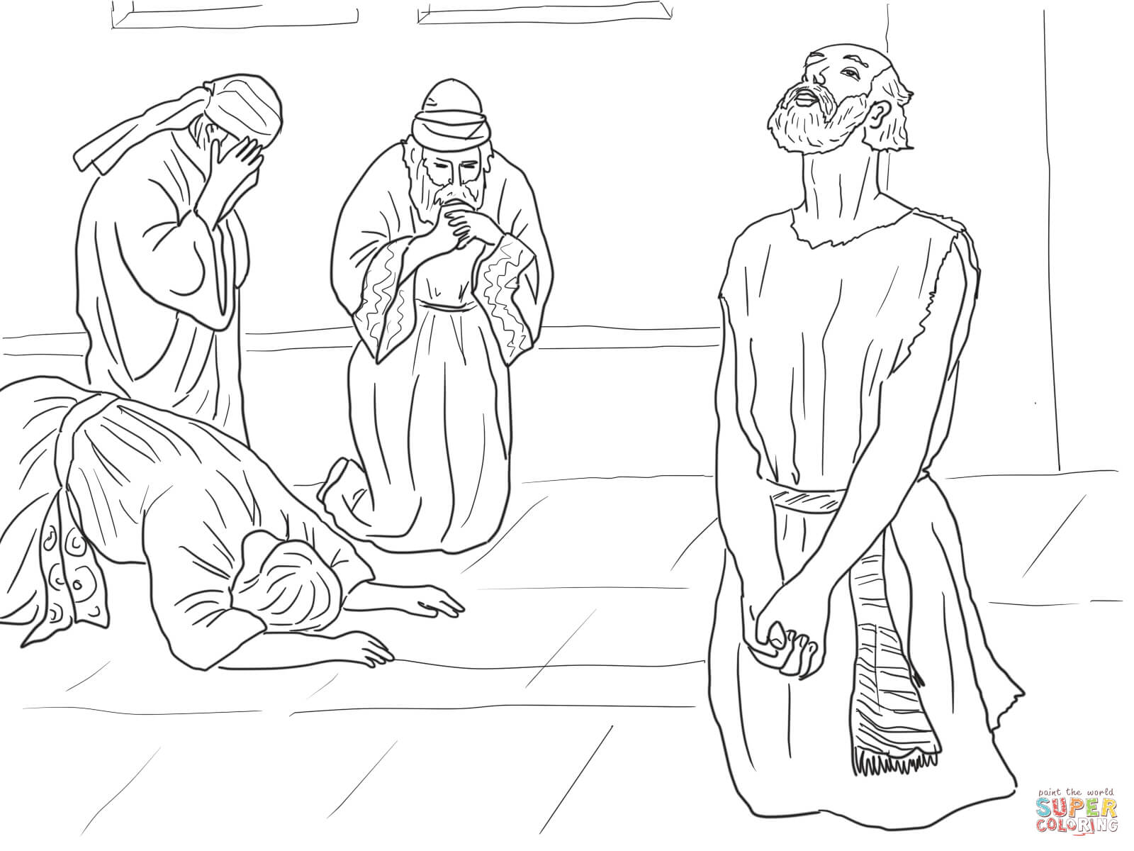 Job Prays To God Coloring Page