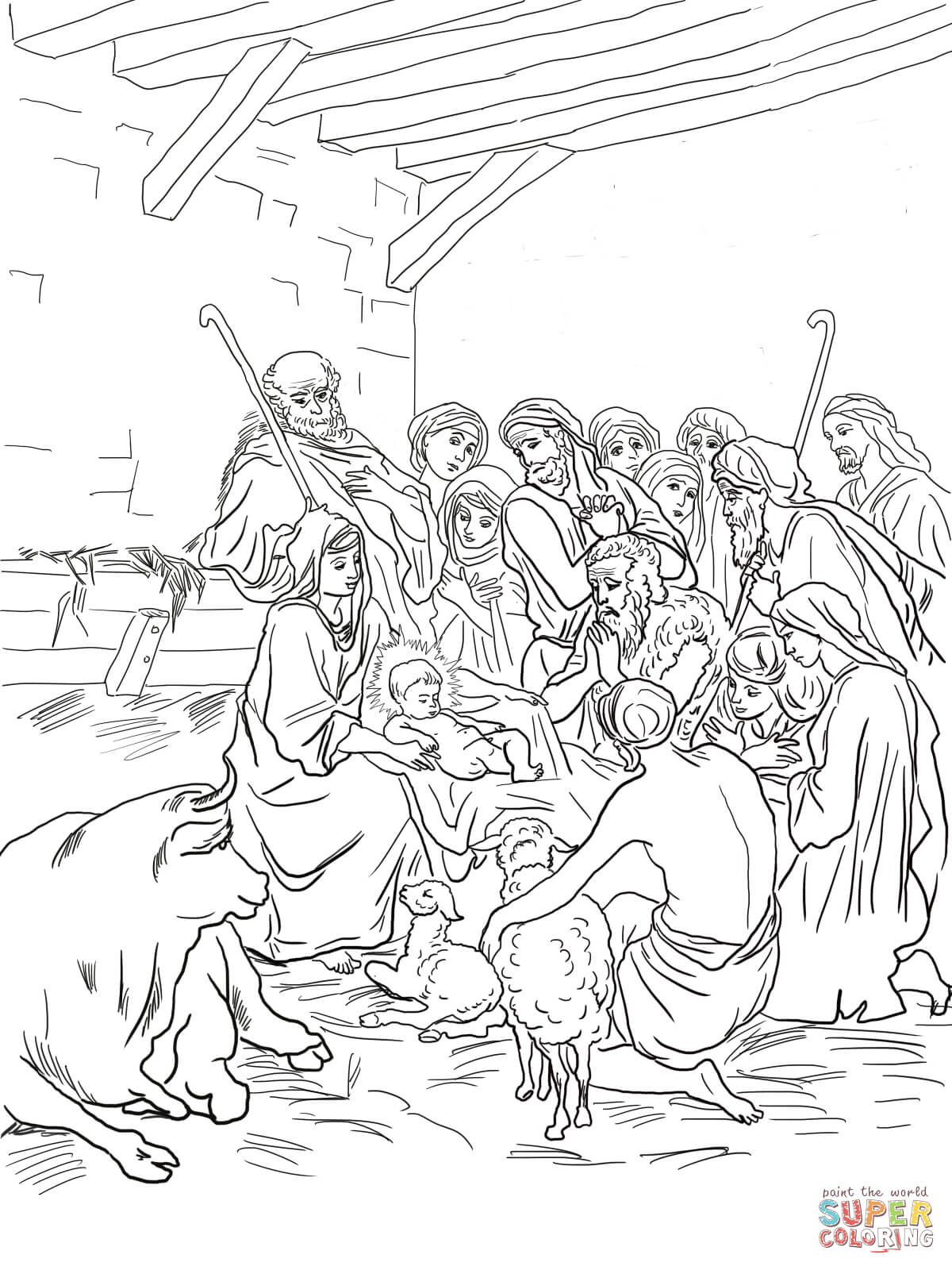 Nativity Scene With Holy Family Shepherds And Animals Coloring Page