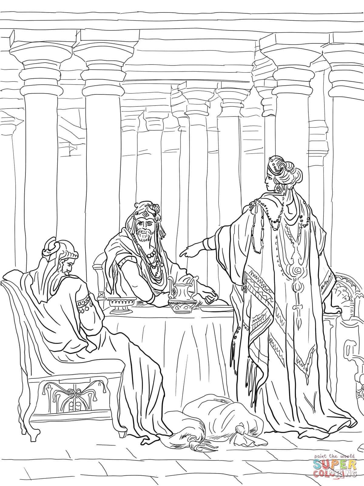 Esther Accusing Haman Coloring Page