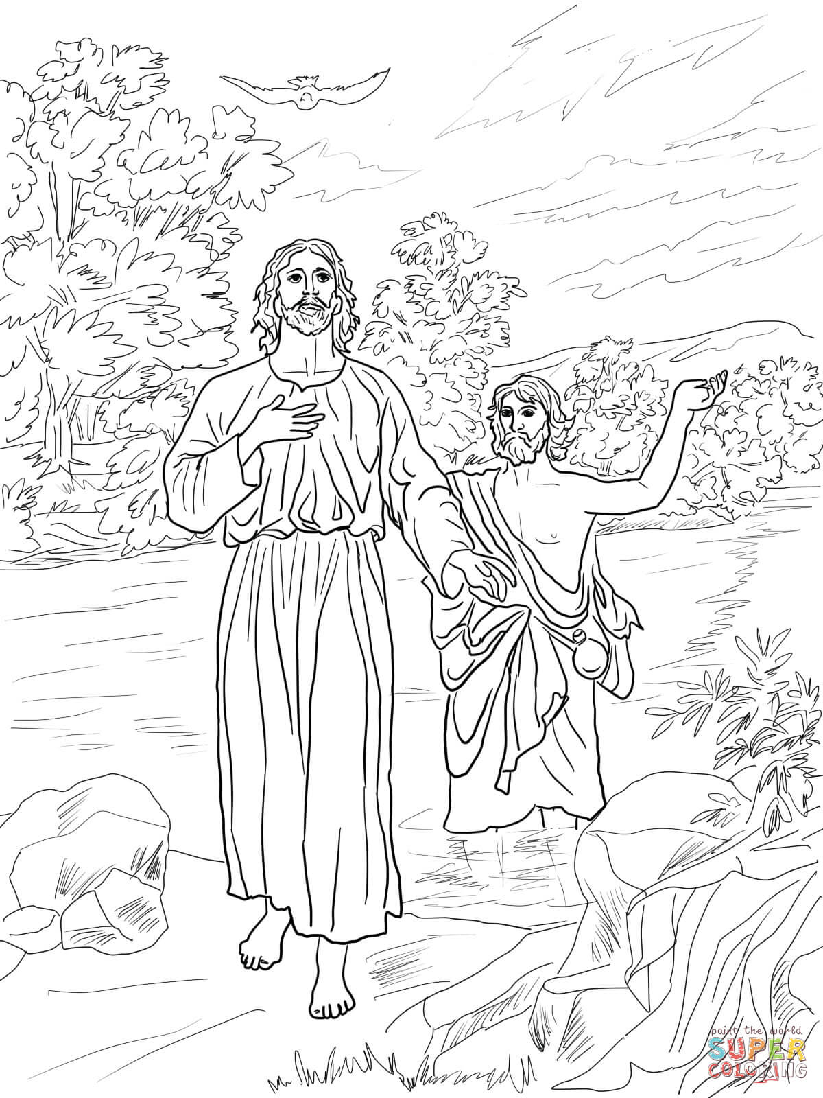 Jesus Baptized By John The Baptist Coloring Page