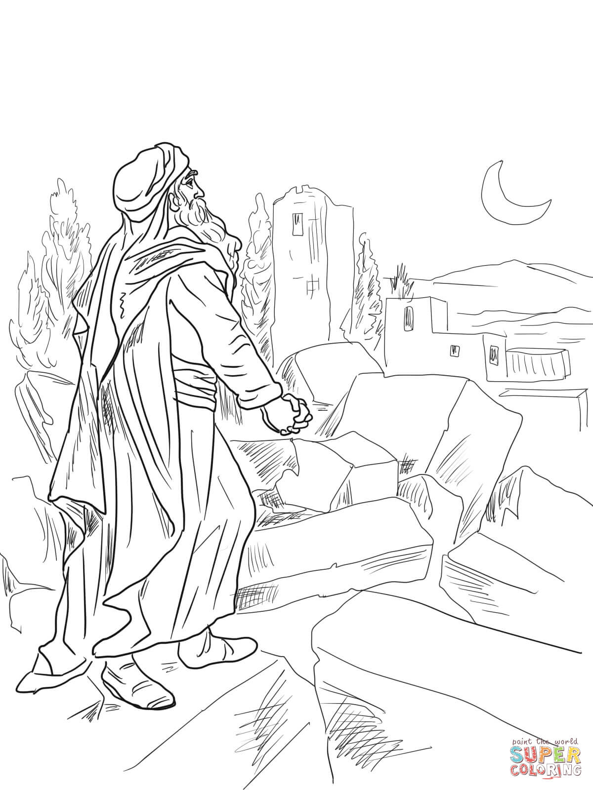 Nehemiah Observing Broken Walls Of Jerusalem Coloring Page Free
