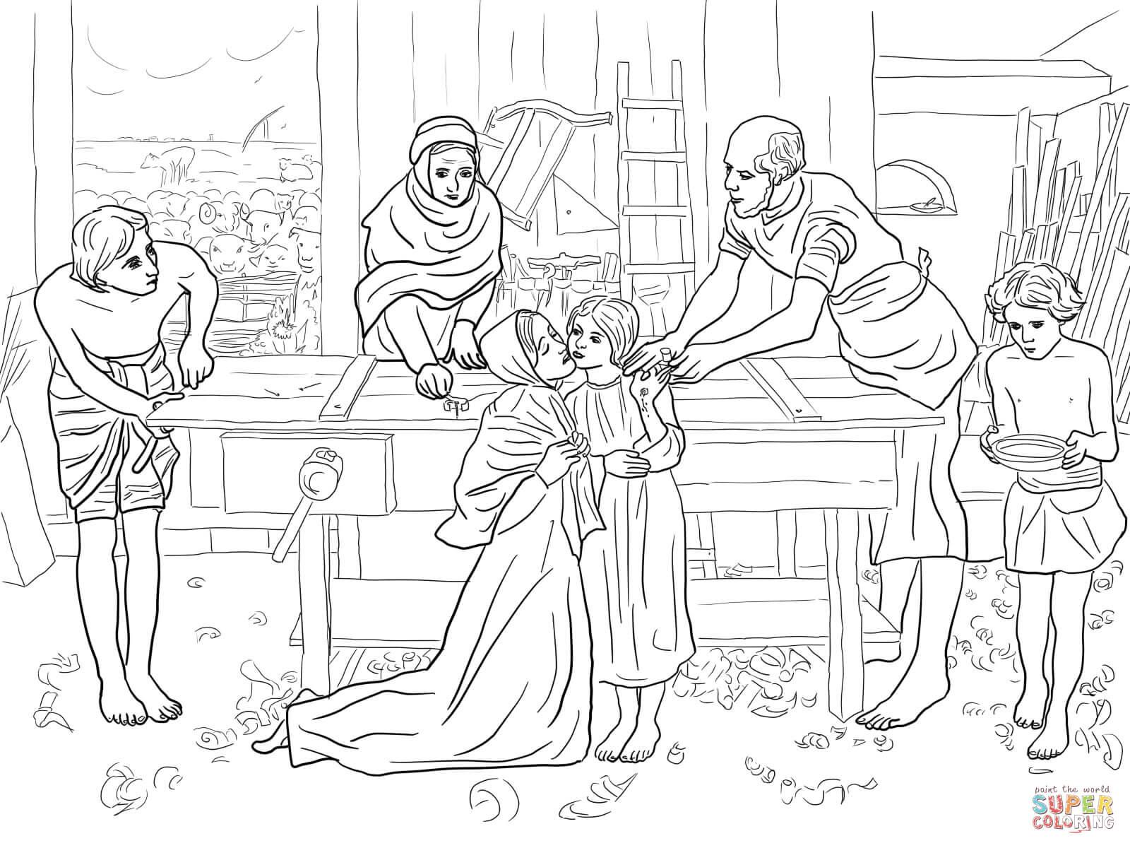 Ausmalbild Der Junge Jesus Im Haus Seiner Eltern
