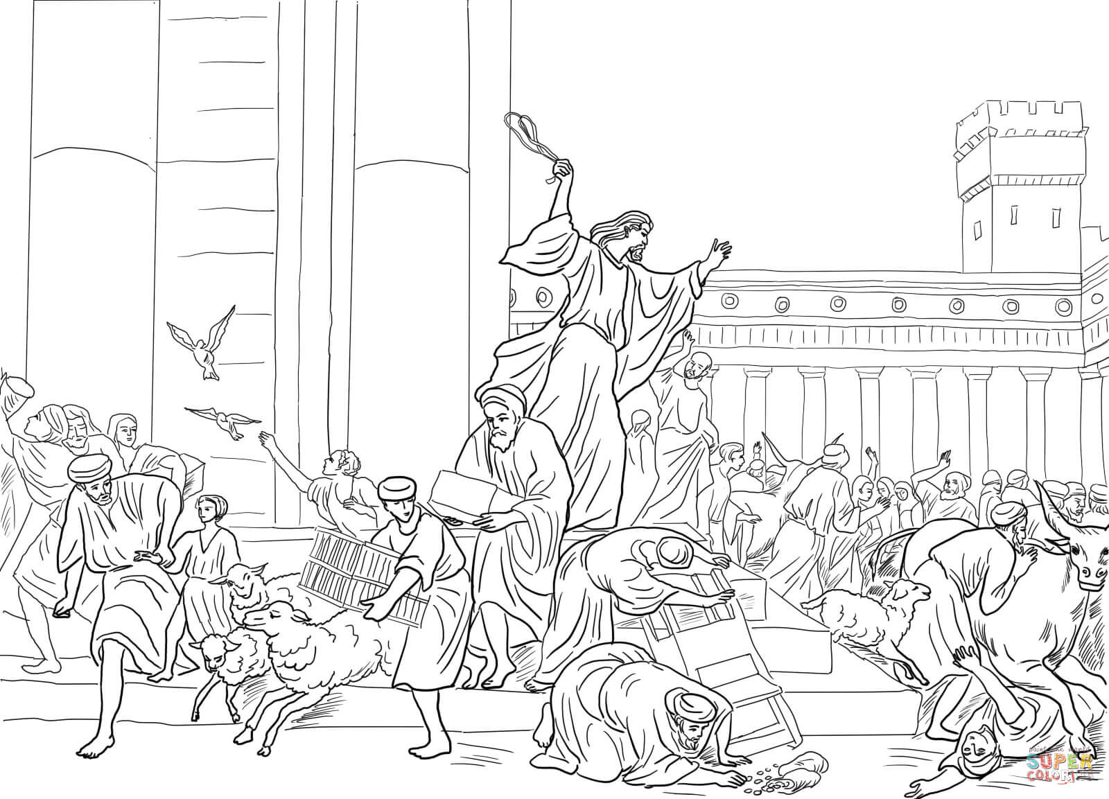 Jesus Cleansing The Temple Coloring Page