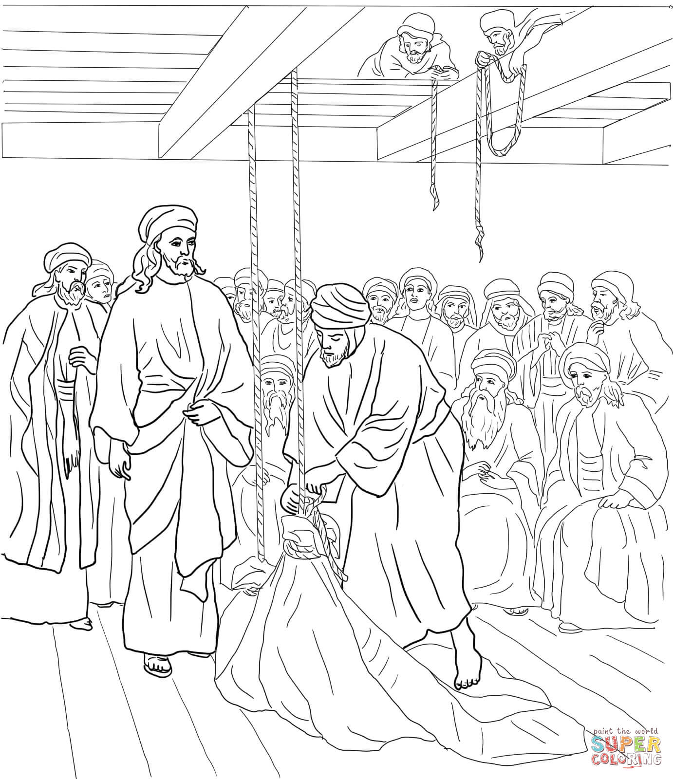 Jesus Heals The Paralyzed Man Coloring Page