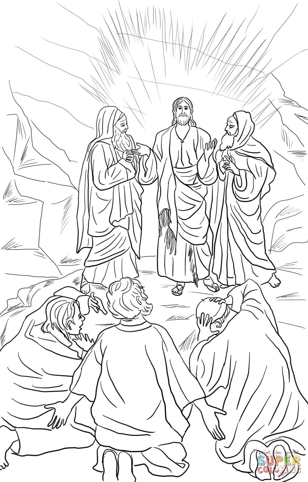 Jesus Transfiguration Coloring Page Free Printable