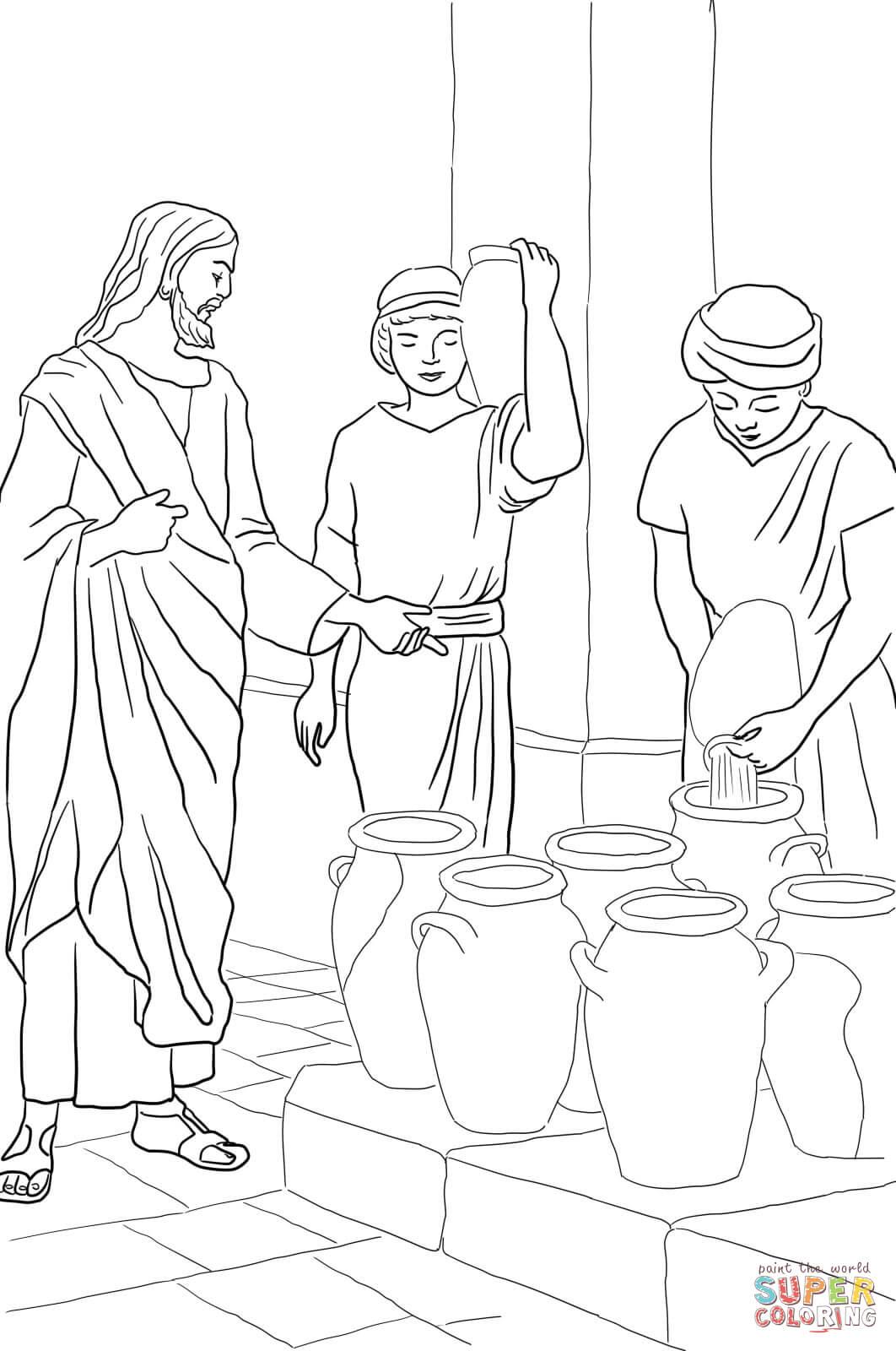 Dibujo De Jesus Convierte El Agua En Vino Para Colorear