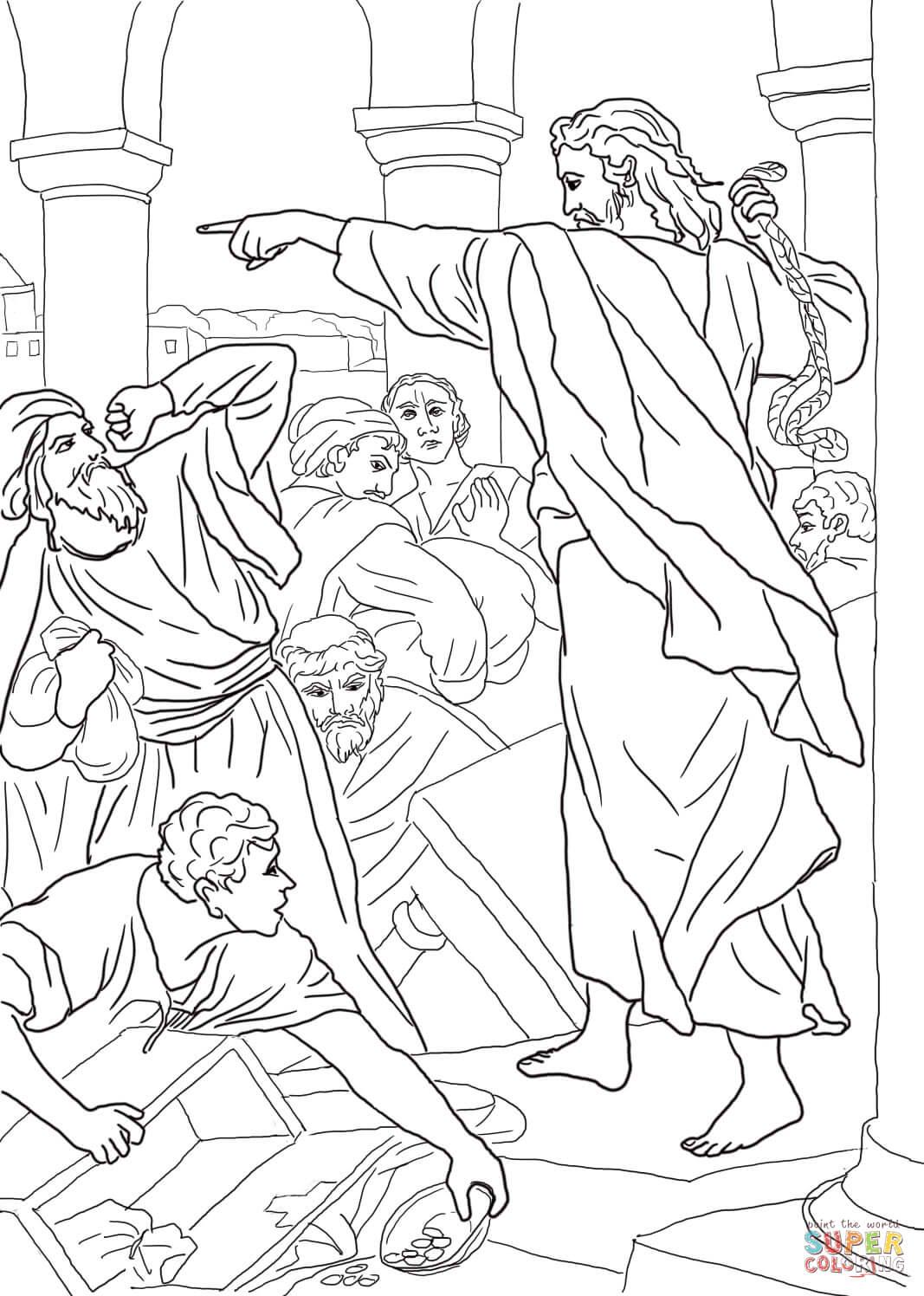 Ausmalbild Jesus Vertreibt Geldwechsler Aus Dem
