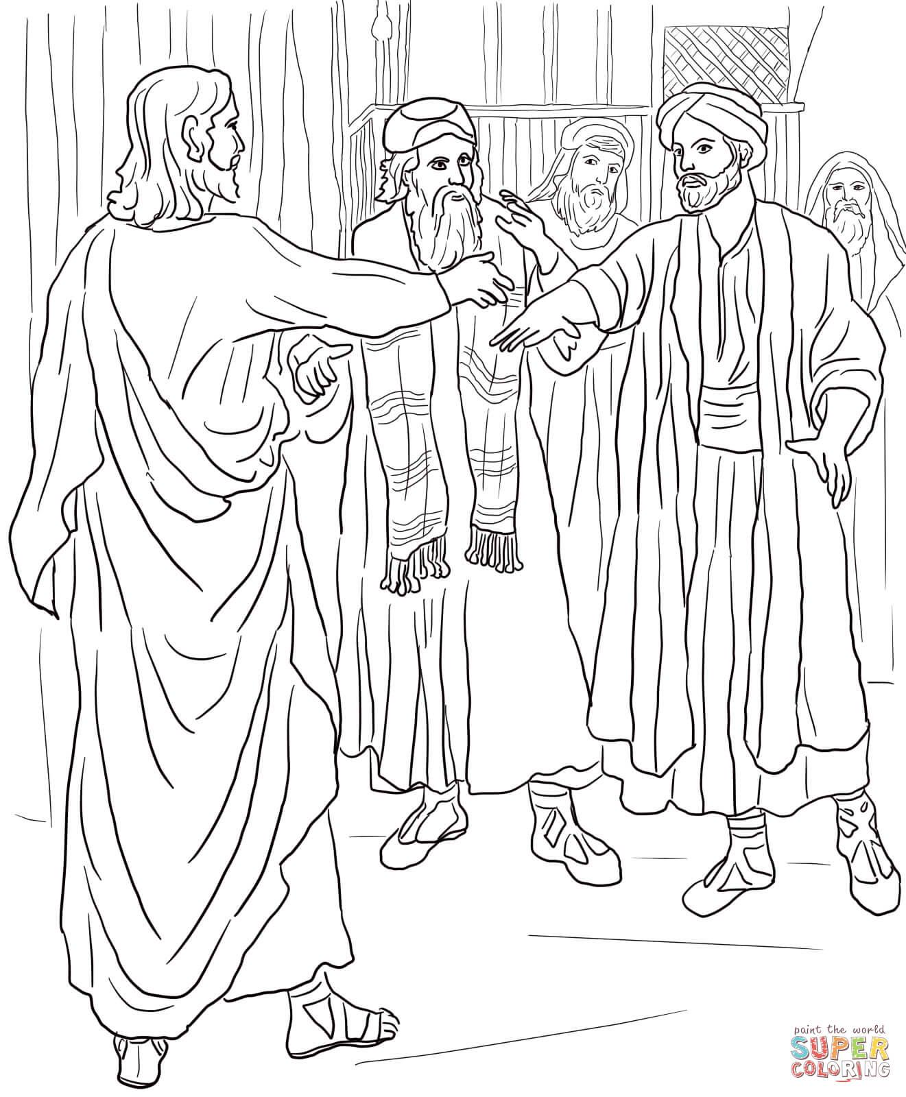 Desenho De Jesus Cura Um Homem Com A Mao Murcha Para