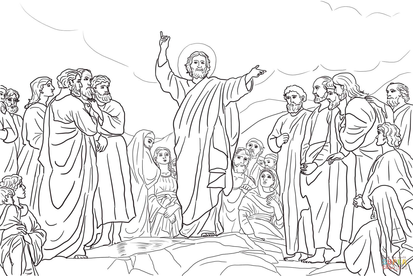 Jesus Teaches The Beatitudes Coloring Page