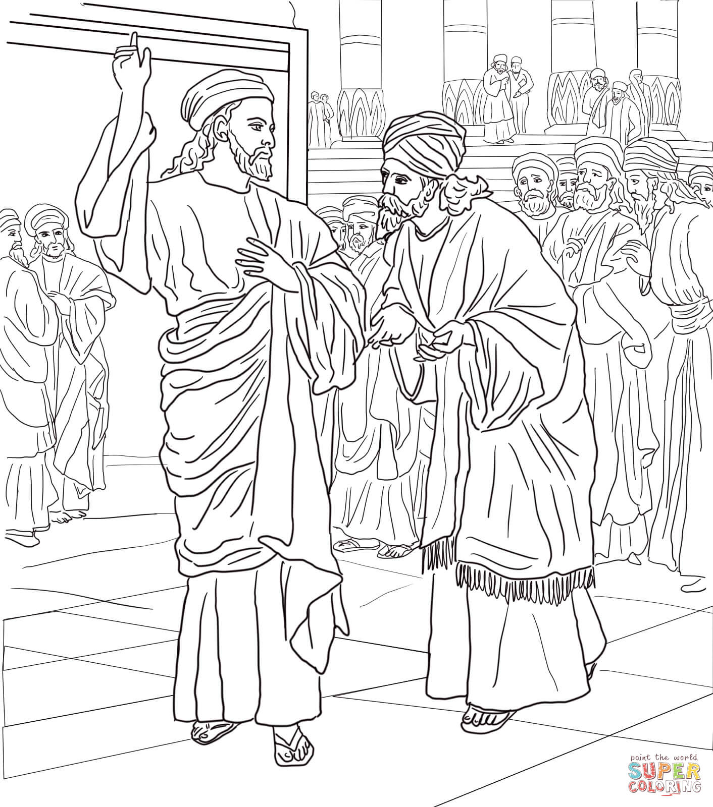 Pharisees And Sadducees Question Jesus Coloring Page