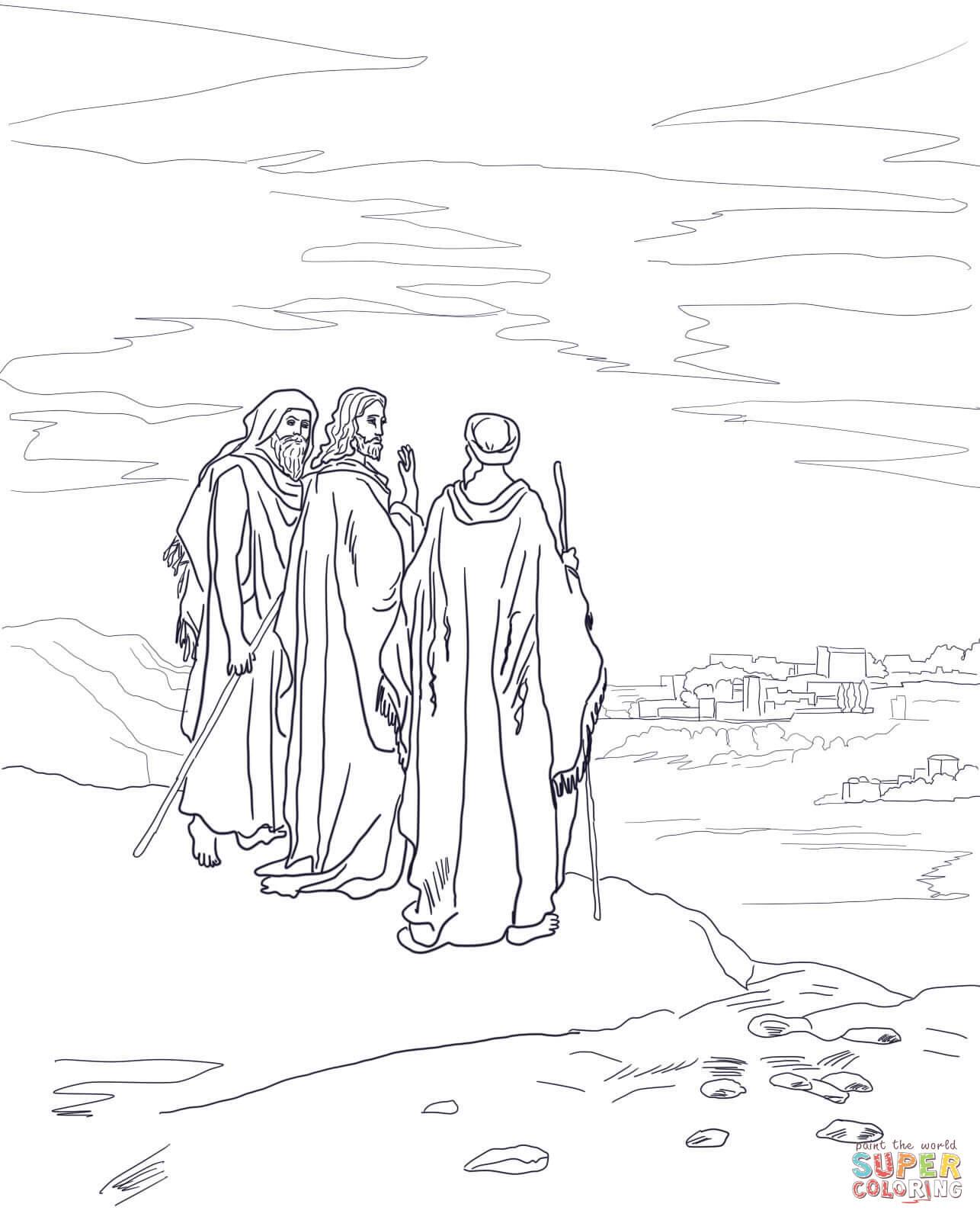 Ausmalbild Jesus Auf Der Stra E Nach Emmaus