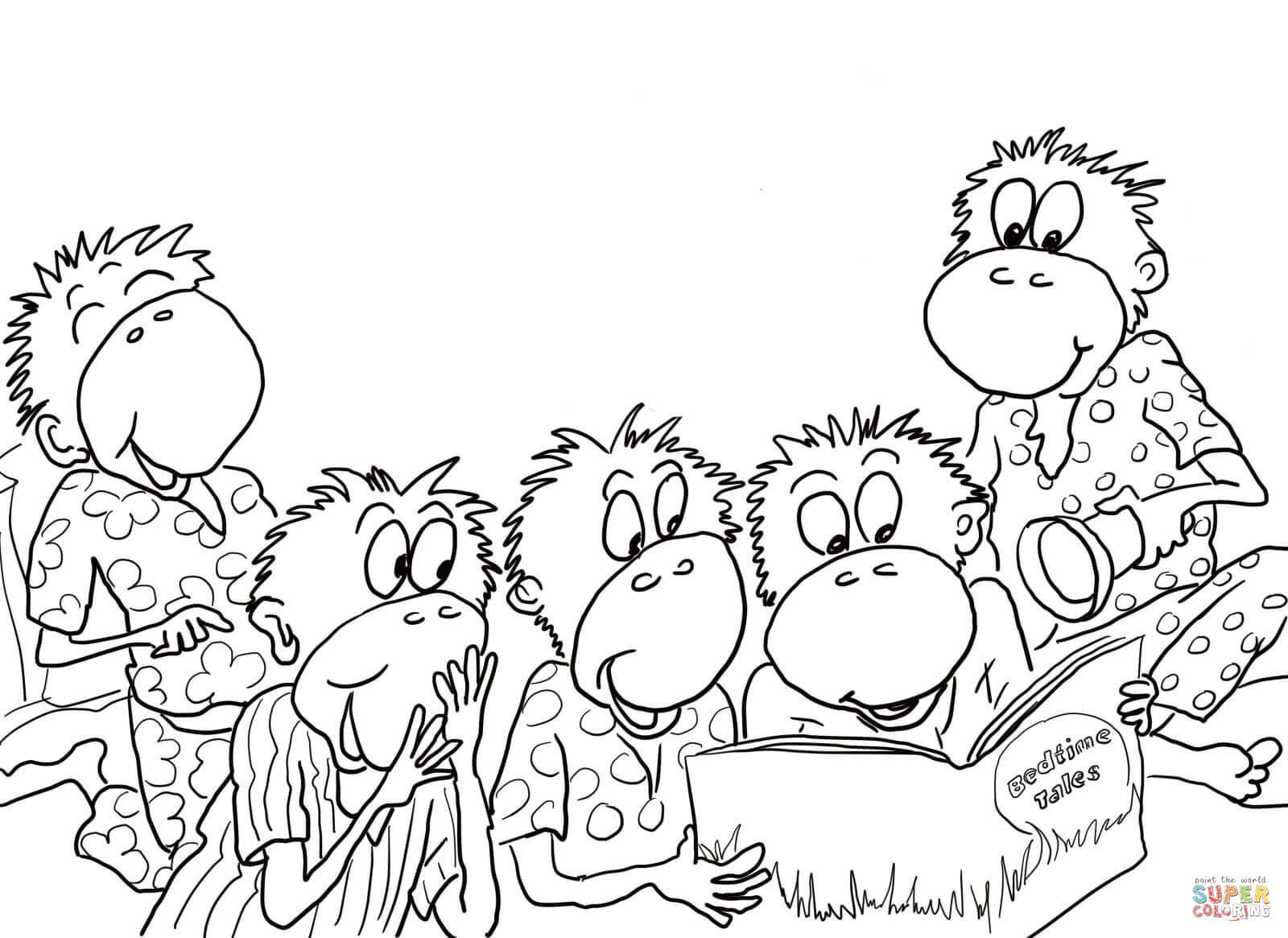 Five Little Monkeys Reading In The Bed Coloring Page