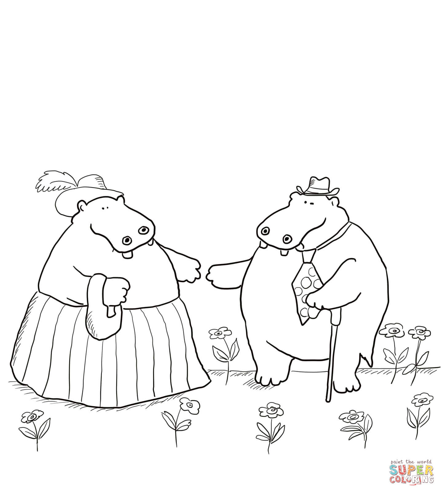 George And Martha Are Best Friends Coloring Page