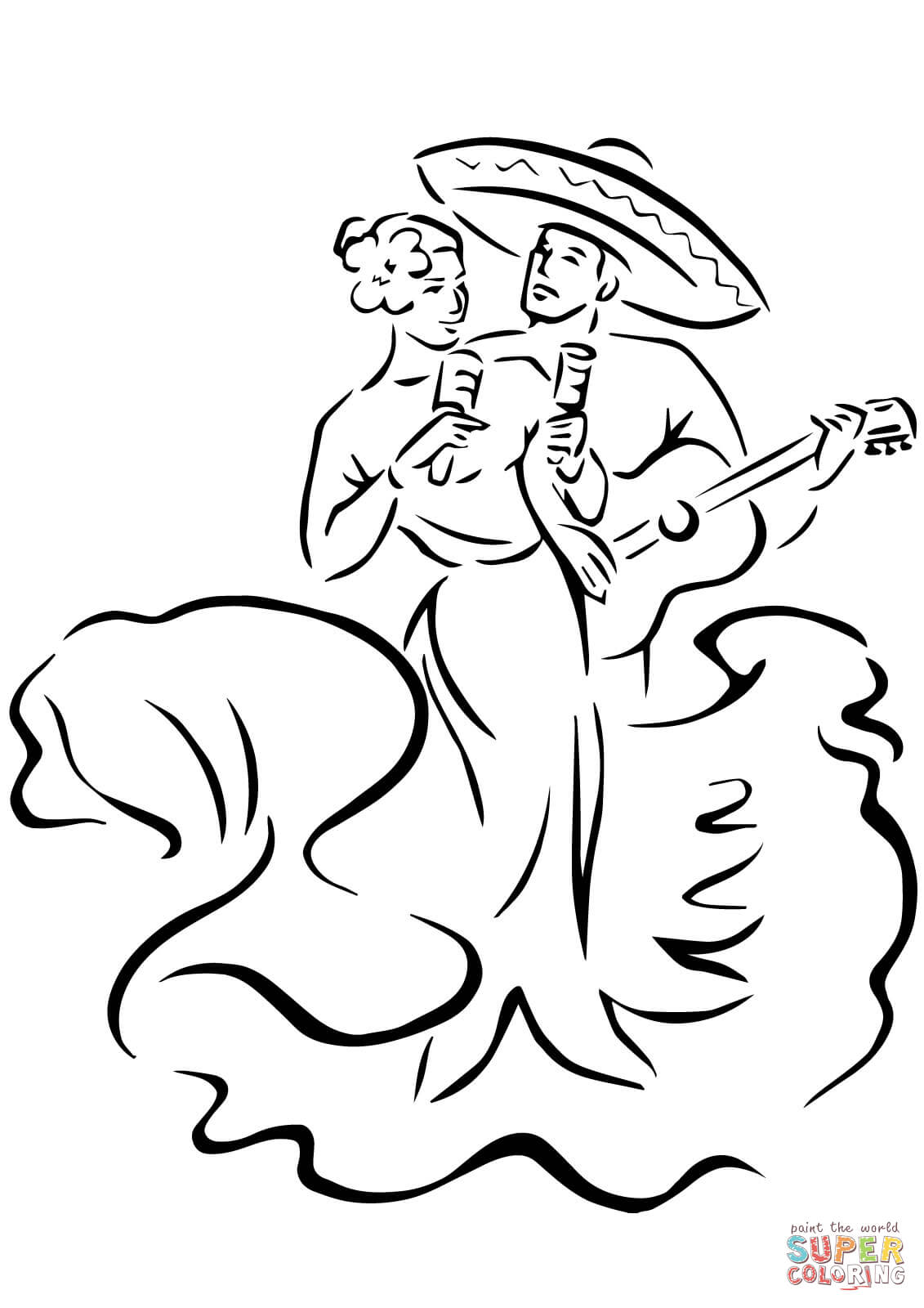 Cinco De Mayo Traditional Dances Coloring Page