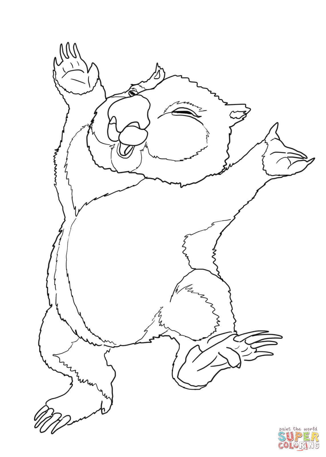 Dancing Wombat Coloring Page