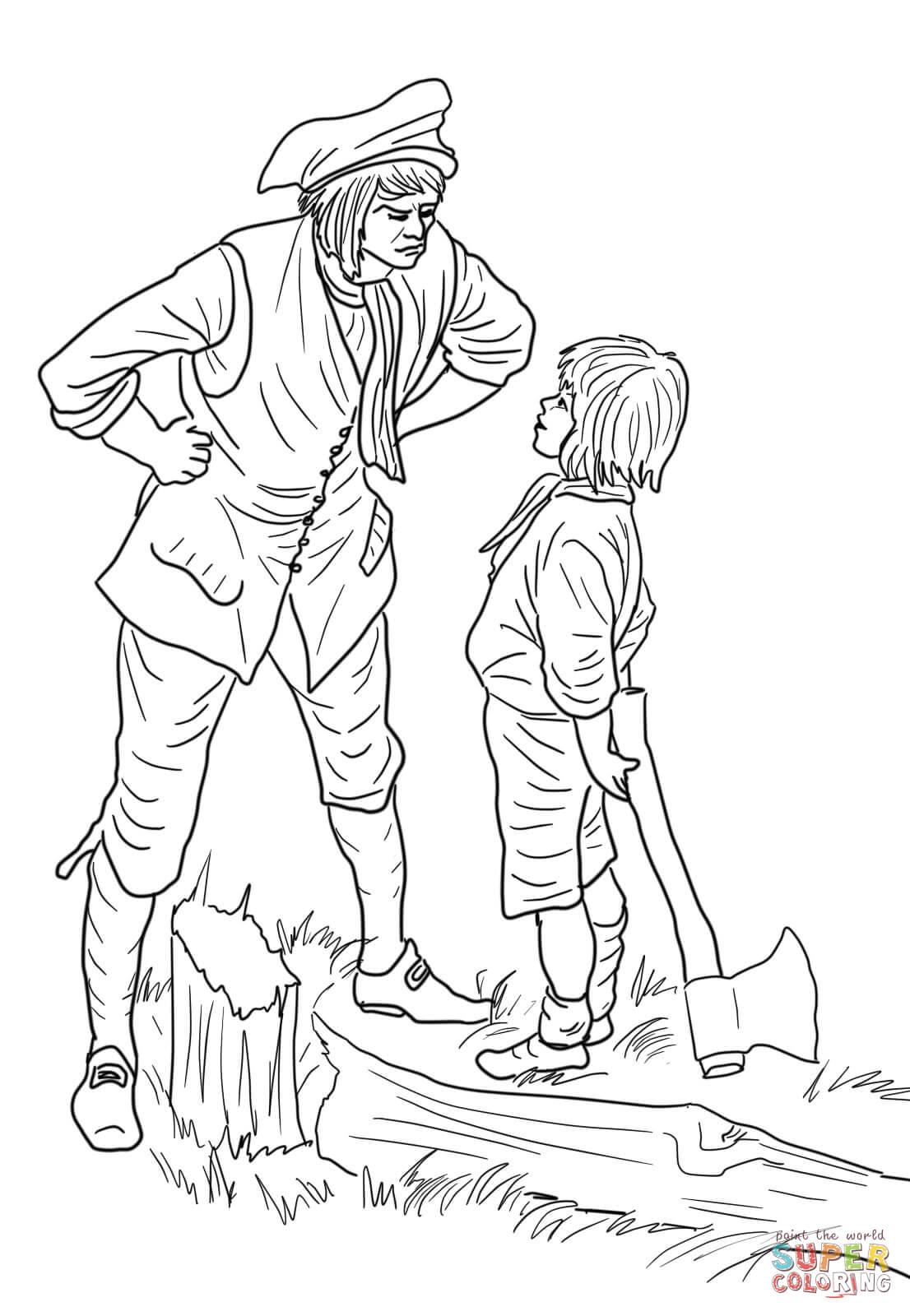 Dibujo De George Washington Y El Cerezo Para Colorear