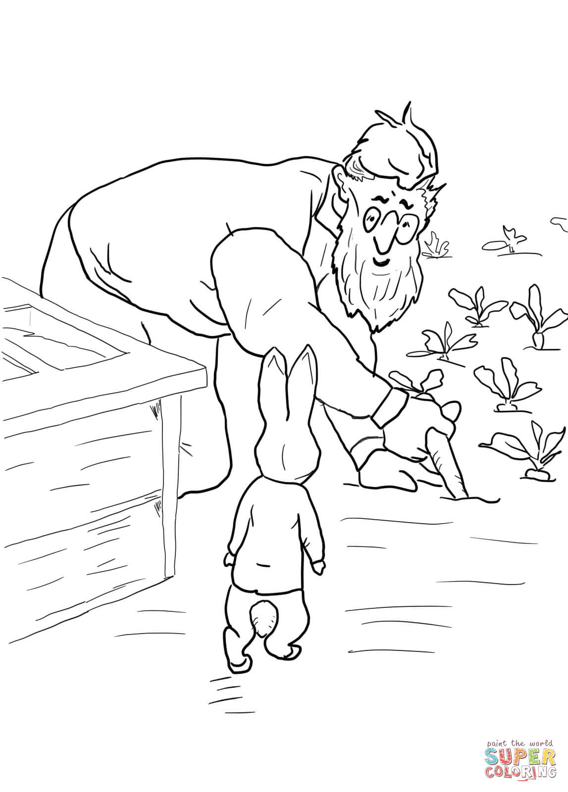Peter Rabbit Is Spotted By Mr Mcgregor Coloring Page