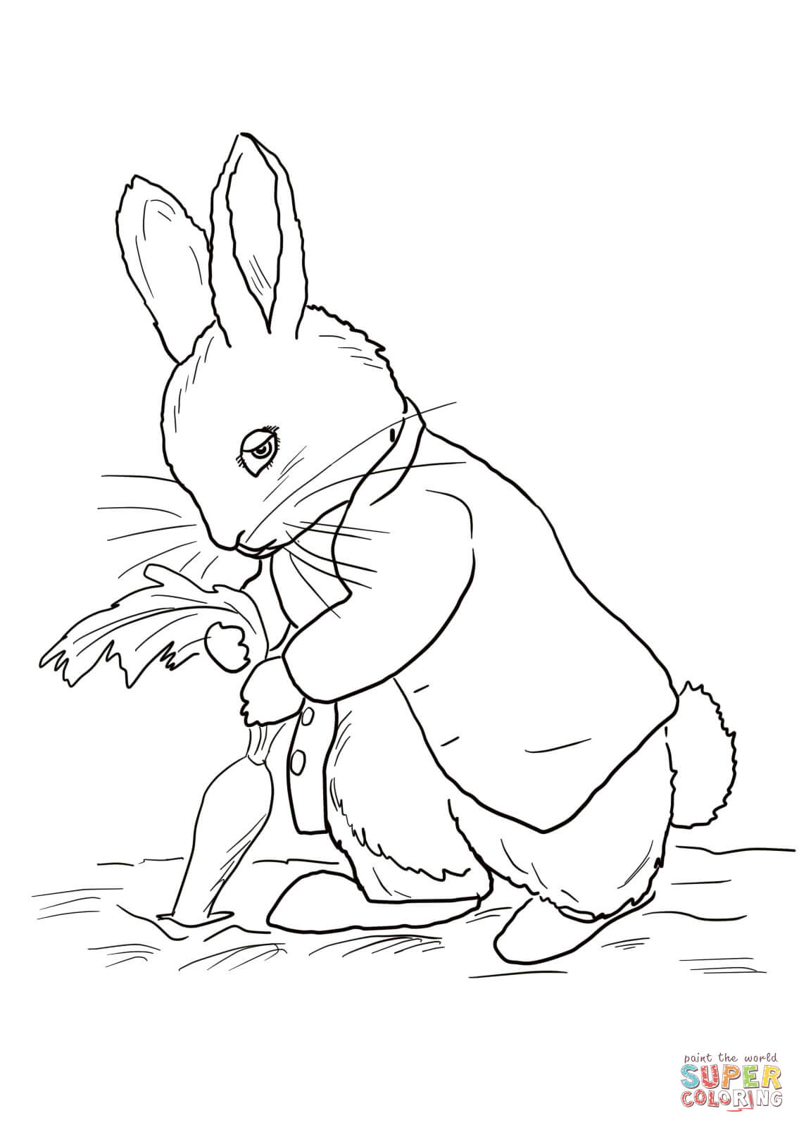 Peter Rabbit Stealing Carrots Coloring Page